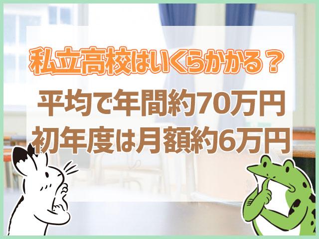 私立高校はいくらかかる?平均で年間約70万円初年度は月額約6万円